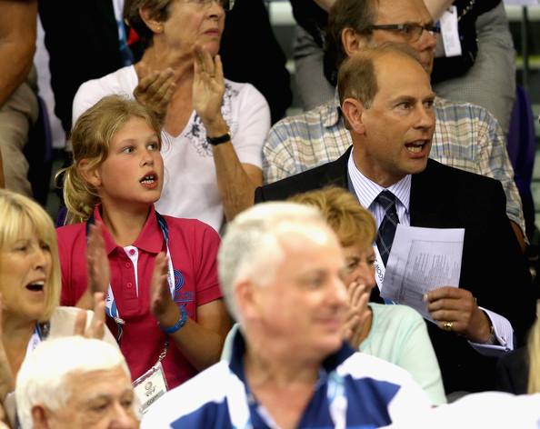 Prince Edward, Earl of Wessex and his daughter Lady Louise Windsor watch Scotland win Gold with Craig McLean and Neil Fachie in the Para Sprint at the Sir Chris Hoy Velodrome during the Commonwealth games on July 26, 2014 in Glasgow, Scotland.