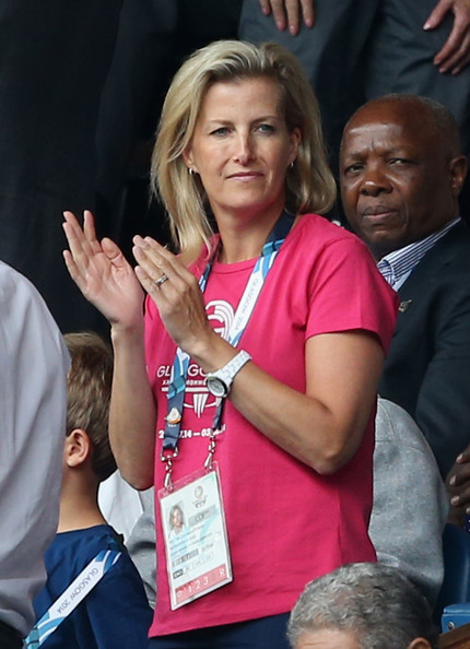 Sophie, Countess of Wessex watches Scotland Play New Zealand in the Rugby Severns at the Ibrox Stadium during the Commonwealth games on July 26, 2014 in Glasgow, Scotland.