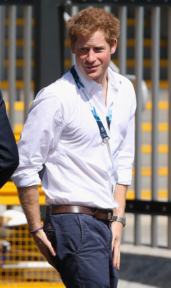 Prince Harry arrives at the SECC Hydro for the Gymnastics as she attends Commonwealth games on July 28, 2014 in Glasgow, Scotland.