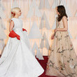 Keira Knightley and Lady Gaga debated how to hug in gowns.