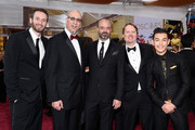 (L-R) Roy Conli, Scott Adsit, Chris Williams, Ryan Potter, and Don Hall attend the 87th Annual Academy Awards at Hollywood & Highland Center on February 22, 2015 in Hollywood, California.