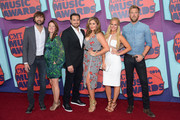 (L-R) Dave Haywood and Kelli Cashiola, Chris Tyrrell and Hillary Scott and Cassie McConnell and Charles Kelley of Lady Antebellum attend the 2014 CMT Music awards at the Bridgestone Arena on June 4, 2014 in Nashville, Tennessee.