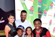 (L-R) Actors Amber Montana, Chico Benymon, Benjamin Flores Jr., Breanna Yde and Curtis Harris attend Nickelodeon Kids' Choice Sports Awards 2014 at UCLA's Pauley Pavilion on July 17, 2014 in Los Angeles, California.