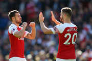 Aaron Ramsey and Shkodran Mustafi of Arsenal prior to the Premier League match between Arsenal FC and Watford FC at Emirates Stadium on September 29, 2018 in London, United Kingdom.
