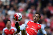 Santi Cazorla of Arsenal in action  during the Barclays Premier League match between Arsenal and Aston Villa at Emirates Stadium on May 15, 2016 in London, England.