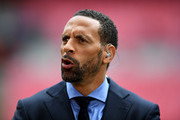 BT Sport pundit Rio Ferdinand look on prior to the Emirates FA Cup Semi-Final match between Arsenal and Manchester City at Wembley Stadium on April 23, 2017 in London, England.