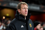 Graham Potter, head coach of Ostersunds FK looks on during UEFA Europa League Round of 32 match between Arsenal and Ostersunds FK at the Emirates Stadium on February 22, 2018 in London, United Kingdom.