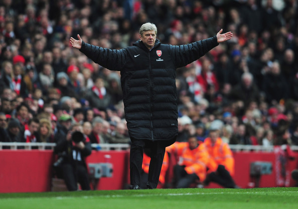 Arsene Wenger manager of Arsenal appeals during the Barclays Premier League match between Arsenal and Reading at Emirates Stadium on March 30, 2013 in London, England.