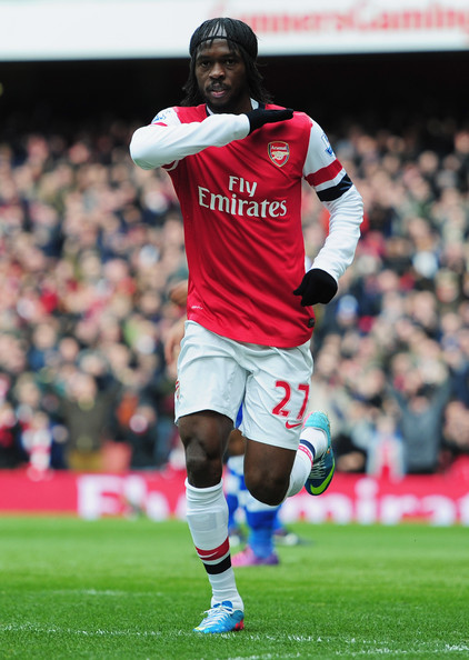 Gervinho of Arsenal celebrates as he scores their first goal during the Barclays Premier League match between Arsenal and Reading at Emirates Stadium on March 30, 2013 in London, England.