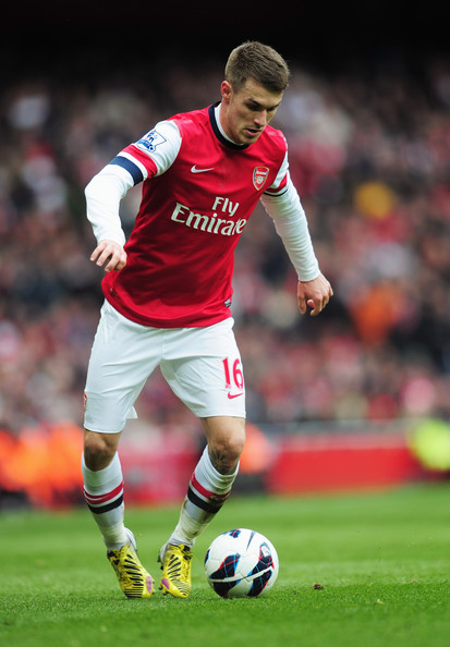 Aaron Ramsey of Arsenal in action during the Barclays Premier League match between Arsenal and Reading at Emirates Stadium on March 30, 2013 in London, England.