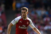 Aaron Ramsey of Arsenal during the Premier League match between Arsenal and West Ham United at Emirates Stadium on April 22, 2018 in London, England.