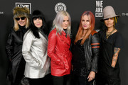 (L-R) Suzi Gardner, Demetra Plakas, Donita Sparks, Jennifer Finch of music group L7 and Linda Perry attend The Art Of Elysium's 13th Annual Celebration - Heaven at Hollywood Palladium on January 04, 2020 in Los Angeles, California.