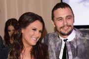 Founder of The Art of Elysium, Jennifer Howell (L) and actor James Franco attend the Art of Elysium and Samsung Galaxy present Marina Abramovic's HEAVEN at Hangar 8 on January 10, 2015 in Los Angeles, California.