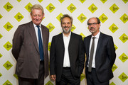 (L-R) David Verey, Sam Mendes and Stephen Deuchar attends the announcement of the winner of the UK's largest arts prize, the £100,000 Art Fund Prize for Museum of the Year, presented by Sam Mendes at National Gallery on July 9, 2014 in London, England.