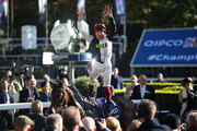 Frankie Dettori celebrates after he rides Star Catcher to win The QIPCO British Champions Fillies & Mares Stakes during the QIPCO British Champions Day at Ascot Racecourse on October 19, 2019 in Ascot, England.