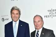 "Former United States Secretary of State, John Kerry (L) and CEO of Bloomberg L.P., Michael Bloomberg attend ""From the Ashes"" Premiere - 2017 Tribeca Film Festival on April 26, 2017 in New York City."