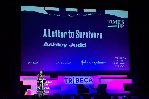 Time's Up - 2018 Tribeca Film Festival [display device,text,technology,electronic device,display advertising,font,led display,multimedia,advertising,signage,ashley judd,times up,new york city,spring studios,tribeca film festival]