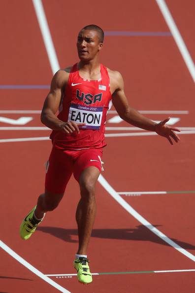 Ashton Eaton Ashton Eaton of the United States competes in the Men's Decathlon 100m Heats on Day 12 of the London 2012 Olympic Games at Olympic Stadium on August 8, 2012 in London, England.