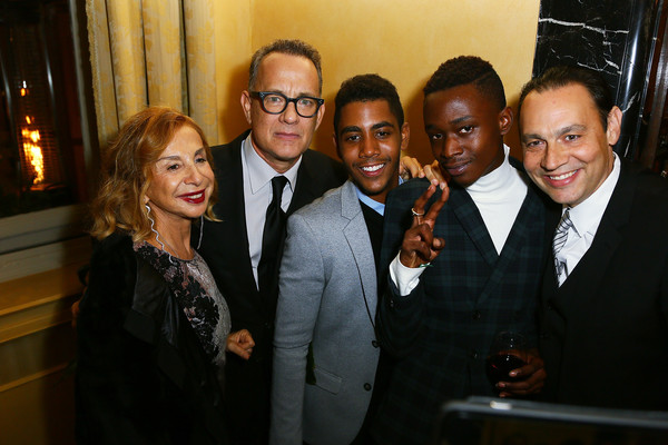 Guests Attend a Party Honouring Tom Hanks Hosted by US Embassy [tom hanks,guest,jharrel jerome,ashton sanders,francesca lo schiavo,event,suit,fun,formal wear,dinner,tuxedo,italy,rome,party,us embassy,party]