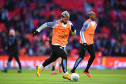 Sergio Aguero of Manchester City warms up prior to the Carabao Cup Final between Aston Villa and Manchester City at Wembley Stadium on March 01, 2020 in London, England.