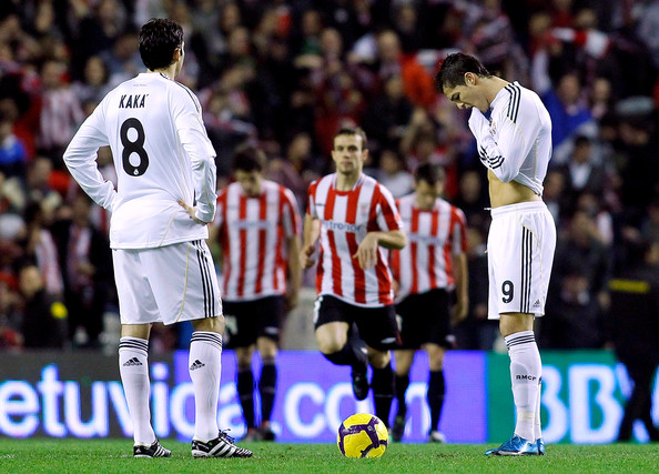 Cristiano Ronaldo (R) and Kaka of Real Madrid look dejected after conceding a goal during the La Liga match between Athletic Bilbao and Real Madrid at the San Mames stadium on January 16, 2010 in Bilbao, Spain.