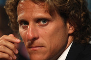 Diego Forlan during the Atletico Madrid press conference at the Grimaldi Forum on August 26, 2010 in Monaco, Monaco.