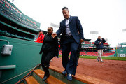 Former Boston Red Sox player and current player/coach for the Triple-A Iowa Cubs walks off of the field prior to the game between the Boston Red Sox and Atlanta Braves at Fenway Park on May 28, 2014 in Boston, Massachusetts.