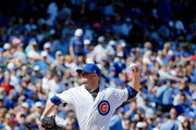 Jon Lester #34 of the Chicago Cubs pitches against the Atlanta Braves during the first inning at Wrigley Field on September 2, 2017 in Chicago, Illinois.