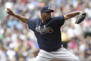 Roberto Hernandez #32 of the Atlanta Braves pitches during the first inning against the Milwaukee Brewers at Miller Park on August 11, 2016 in Milwaukee, Wisconsin.