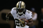 C.J. Spiller #28 of the New Orleans Saints participates in warmups prior to a game against the Atlanta Falcons at the Mercedes-Benz Superdome on October 15, 2015 in New Orleans, Louisiana.