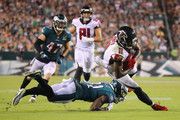 Jalen Mills #31 of the Philadelphia Eagles tackles Julio Jones #11 of the Atlanta Falcons during the fourth quarter at Lincoln Financial Field on September 6, 2018 in Philadelphia, Pennsylvania.