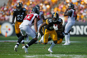 Antonio Brown #84 of the Pittsburgh Steelers runs upfield after a catch in the first half during the game against the Atlanta Falcons at Heinz Field on October 7, 2018 in Pittsburgh, Pennsylvania.