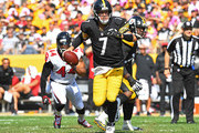 Ben Roethlisberger #7 of the Pittsburgh Steelers scrambles out of the pocket in the first half during the game against the Atlanta Falcons at Heinz Field on October 7, 2018 in Pittsburgh, Pennsylvania.