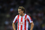 Diego Forlan of Atletico Madrid looks on during the UEFA Europa League group B match between Atletico Madrid and Bayer 04 Leverkusen at the Vicente Calderon Stadium on September 30, 2010 in Madrid, Spain. The match ended in a 1-1 draw.