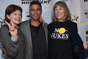 "Actors Frances Fisher, Esai Morales and Mimi Kennedy attend the Atomic Age Cinema Fest Premiere of ""The Man Who Saved The World"" at Raleigh Studios on April 27, 2016 in Los Angeles, California."