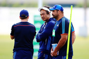 Head coach Tana Umaga talks with scrum coach Ben Afeaki during an Auckland Blues Super Rugby pre season training session ahead of the 2018 Investec Super Rugby Championship at Alexandra Park on December 1, 2017 in Auckland, New Zealand.