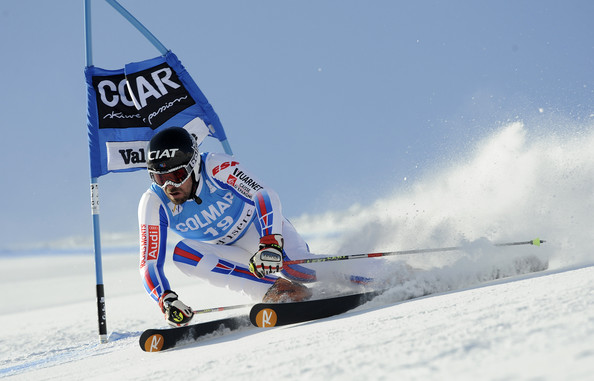 (FRANCE OUT) Gauthier De Tessieres of France in action during the Audi FIS Alpine Ski World Cup Men's Giant Slalom on December 13, 2009 in Val d'Isere,