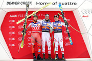 Kjetil Jansrud #15 of Norway, Vincent Kriechmayr #3 of Austria and Hannes Reichelt #7 of Austria poses for photographers on the medals podium after the Men's Super-G during the Audi Birds of Prey World Cup on December 1, 2017 in Beaver Creek, Colorado.