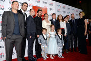(L-R) Producer Pete Shilaimon, editor Sebastian Sepulveda, producer Mickey Liddell, director Pablo Larrain, actor Aiden Weinberg,  actress Natalie Portman, actress Sunnie Pelant, actor Aiden Weinberg, actor Caspar Phillipson, actress Beth Grant, composer Mica Levi, producer Juan de Dios Larrain, screenwriter Noah Oppenheim, and actress Greta Gerwig attend the premiere of 'Jackie' at AFI Fest 2016, presented by Audi at The Chinese Theatre on November 14, 2016 in Hollywood, California.