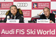 (FRANCE OUT) Yang-Ho Cho, president of the POCOG and Gian Franco Kasper , president of the FIS during a press conference, during the Audi FIS Alpine Ski World Cup Men's Downhill on February 06, 2016 in Jeongseon, South Korea.