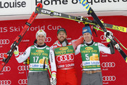 Max Franz of Austria takes 2nd place, Kjetil Jansrud of Norway takes 1st place, Hannes Reichelt of Austria takes 3rd place during the Audi FIS Alpine Ski World Cup Men's Super G  on November 26, 2017 in Lake Louise, Canada.