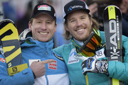 (FRANCE OUT) Kjetil Jansrud of Norway takes 1st place, Hannes Reichelt of Austria takes 3rd place during the Audi FIS Alpine Ski World Cup Men's Super-G on December 20, 2014 in Val Gardena, Italy.