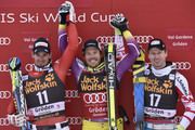 (FRANCE OUT) Kjetil Jansrud of Norway takes 1st place, Dominik Paris of Italy takes 2nd place, Hannes Reichelt of Austria takes 3rd place during the Audi FIS Alpine Ski World Cup Men's Super-G on December 20, 2014 in Val Gardena, Italy.