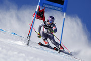 Tessa Worley of France in action during the Audi FIS Alpine Ski World Cup Women's Giant Slalom on December 19, 2017 in Courchevel, France.