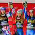 Irene Curtoni Petra Vlhova Photos - Petra Vlhova of Slovakia takes 2nd place, Mikaela Shiffrin of USA takes 1st place, Irene Curtoni of Italy takes 3rd place during the Audi FIS Alpine Ski World Cup Women's Parallel Slalom on December 20, 2017 in Courchevel, France. - Irene Curtoni Petra Vlhova Photos - 2 of 3