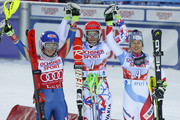 Mikaela Shiffrin of USA takes 2nd place, Petra Vlhova of Slovakia takes 1st place, Wendy Holdener of Switzerland takes 3rd place during the Audi FIS Alpine Ski World Cup Women's Slalom on November 11, 2017 in Levi, Finland.