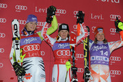 (FRANCE OUT) (L-R) Maria Riesch of Germany, Marlies Schild of Austria and Tanja Poutianen of Finland celebrate placing second, first and third on the podium during the Audi FIS Alpine Ski World Cup Women's Slalom on November 13, 2010 in Levi, Finland.