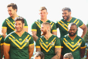 Aidan Guerra, James Tamou, Josh McGuire, Josh Dugan,  Sam Thaiday  and Semi Radradra wait as they set up for the team photo during the Australia Kangaroos Test team photo session at Crowne Plaza Coogee on May 2, 2016 in Sydney, Australia.