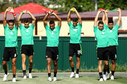 Australia players stretch during a training session during an Australian Socceroos media opportunity at Park Arena on June 25, 2018 in Sochi, Russia.