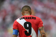 A close up of the tattoo's on Peru player Paolo Guerrero  during the 2018 FIFA World Cup Russia group C match between Australia and Peru at Fisht Stadium on June 26, 2018 in Sochi, Russia.